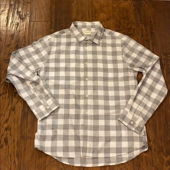 7 Diamonds Soft Flannel Shirt gray white button